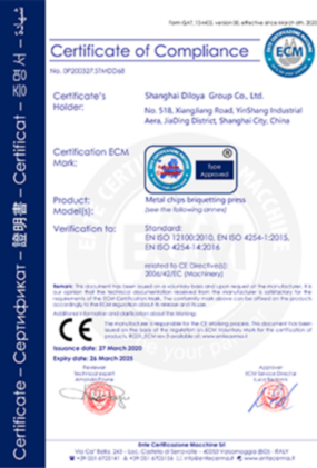 Metal Chips Briquetting Press CE Certification