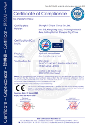 Hydraulic Vertical Baler CE Certification